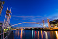 Millennium bridge Manchester side view Royalty Free Stock Photo