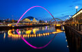 Millennium bridge newcastle the gateshead is a pedestrian and cyclist tilt spanning the river tyne in england between gateshead s Stock Images