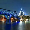 Millennium bridge and st pauls cathedral at night in london Stock Photography