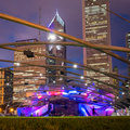Millennium park chicago july jay pritzker pavilion in at night on july in chicago outdoor amphitheater in downtown chicago Royalty Free Stock Image