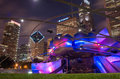 Millennium park chicago july jay pritzker pavilion in at night on july in chicago outdoor amphitheater in downtown chicago Stock Photo