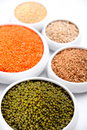 Millet, barley, buckwheat grains and other Stock Image