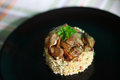 Millet with porcini mushrooms, healthy dish for lunch Royalty Free Stock Photo