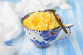 Millet and rice kasha porridge with pumpkin copy space for your text Stock Image