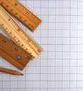 Millimeter paper ruler and pencil with wooden Stock Photo
