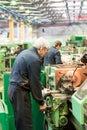 Milling machine operator works at machine tyumen russia november jsc tyumenskie motorostroiteli plant on production and repair of Stock Photo