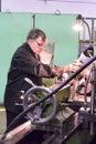 Milling machine operator works at machine tyumen russia november jsc tyumenskie motorostroiteli plant on production and repair of Stock Images