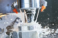 Milling process. precision CNC machining by vertical mill with coolant