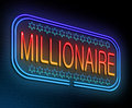 Millionaire concept illustration depicting an illuminated neon sign with a Stock Photography