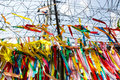Millions of prayer ribbons tied to the fence wishing peace and unification for north and south korea taken in demilitarised zone Stock Photo