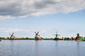 Mills lanscape at Zaanse Schans Royalty Free Stock Images