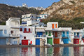 Milos island in greece traditional fishing village of klima at Royalty Free Stock Photography