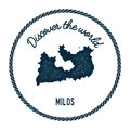 Milos map in vintage discover the world insignia.