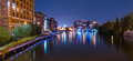 Milwaukee River walk at night Royalty Free Stock Photo