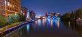 Milwaukee River walk at night Royalty Free Stock Photo