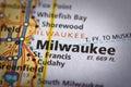 Milwaukee, Wisconsin on map Royalty Free Stock Photo