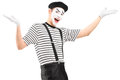Mime dancer gesturing with hands isolated on white background Royalty Free Stock Photos