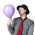 Mime holding blue balloon Royalty Free Stock Photography