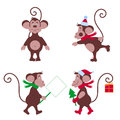 Mimic funny monkey monkey on skates another monkey comes with a poster the third monkey with a christmas tree and a gift for the Stock Photography