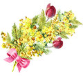 Mimosa, tulip flowers, ribbon, bow, watercolor, pattern