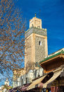 Minaret in Fes Jdid, one of the three parts of Fes, Morocco Royalty Free Stock Photo