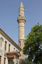 Minaret of hadji hassan mosque kos in town greece Stock Photo