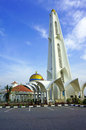 Minaret of the malacca straits mosque is situated on man made island off coast town in Royalty Free Stock Photos