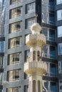 Minaret and modern facade abu dhabi uae united arab emirates Stock Photos
