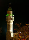 Minaret at night in jaffa israel Stock Photography