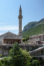 Minaret in the old town of mostar bosnia and herzegovina may Stock Images