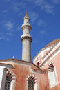 The minaret of Suleiman mosque, Rhodes Royalty Free Stock Image
