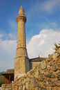 Minaret of tabacica mosque in mostar nearby main tourist street Royalty Free Stock Photography