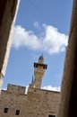 Minaret at the temple mount jerusalem in israel near al aksa mosque a holy place of islam Stock Image
