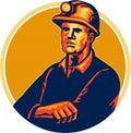 Minatore delle miniere di carbone arms folded retro Immagine Stock Libera da Diritti