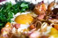 Mince meat and chicken egg Royalty Free Stock Photo