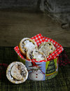 Mince pies in a christmas decorated tin box with red gingham napkin snowman and tree Stock Photography