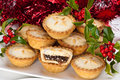 Mince Pies for Christmas with Holly and Berries Stock Photo