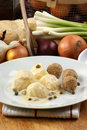 minced meat balls with potato and caper Royalty Free Stock Photo