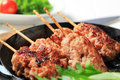 Minced meat kebabs on wooden sticks Stock Photography
