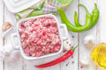 Minced meat in a pot Royalty Free Stock Photos