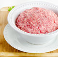 Minced meat on a wooden table Royalty Free Stock Photos