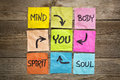 Mind body spirit soul and you balance or wellbeing concept handwriting on colorful sticky notes against grained wood Royalty Free Stock Image