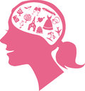 Mind of a bride pink female profile filled with assorted wedding icons illustration Royalty Free Stock Photo