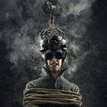 Mind control man wearing a brain helmet human brain related experiments Stock Image