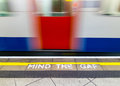Mind the gap warning warningin london underground Royalty Free Stock Images