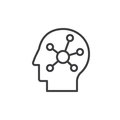 Mind map in a head line icon, outline vector sign, linear style pictogram isolated on white. Symbol, logo illustration. Editable s