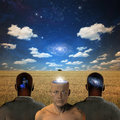 Minds of men three figures in serene landscape Royalty Free Stock Images