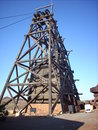 Mine head frame made of wood on the western australian goldfields Royalty Free Stock Photos