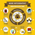 Mine infographic concept, flat style