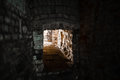 Mine shaft with diminishing perspective stone and copy space Stock Photo